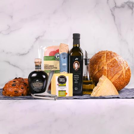 DLM Artisan Collection with Italian Olive Oil, Balsamic Vinegar, Sourdough Bread, Parmesan Cheese, Cheddar Cheese, Salami, Proscuitto, Raisin Walnut Bread
